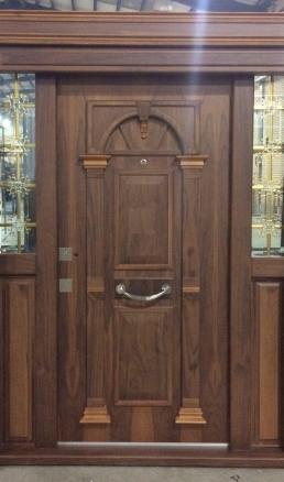 درب لابی چوبی ضد سرقت دو لنگه یک و نیم لنگه